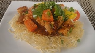 Pan Fried Noodles with Schezwan Chicken