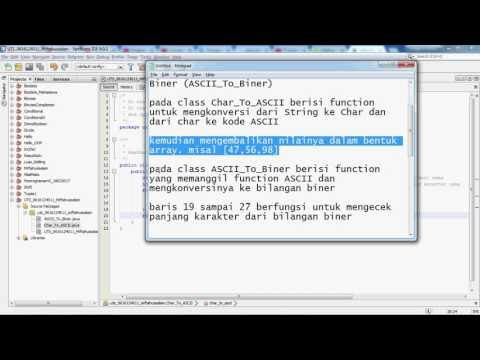 Konversi Char ke Dalam Kode ASCII dan Bilangan Biner - Java - YouTube