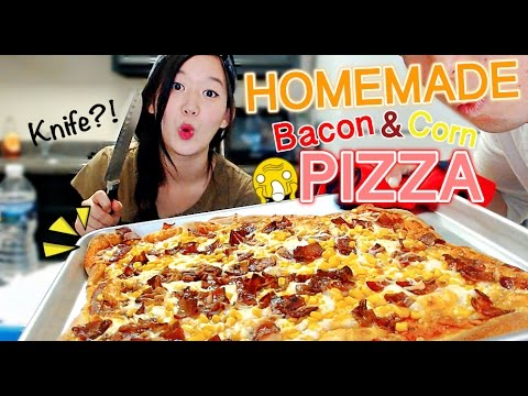 Homemade Pizza (Bacon & Corn) Cooking & Eating