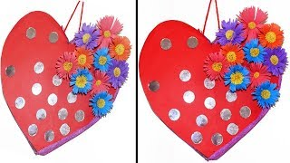 Heart Shaped Wall Hanging Out Of paper   Wall Hanging Craft Ideas   Easy Wall Decoration Ideas