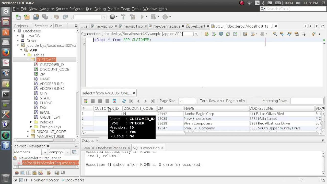 how to create and insert into a databse on NetBeans-Derby