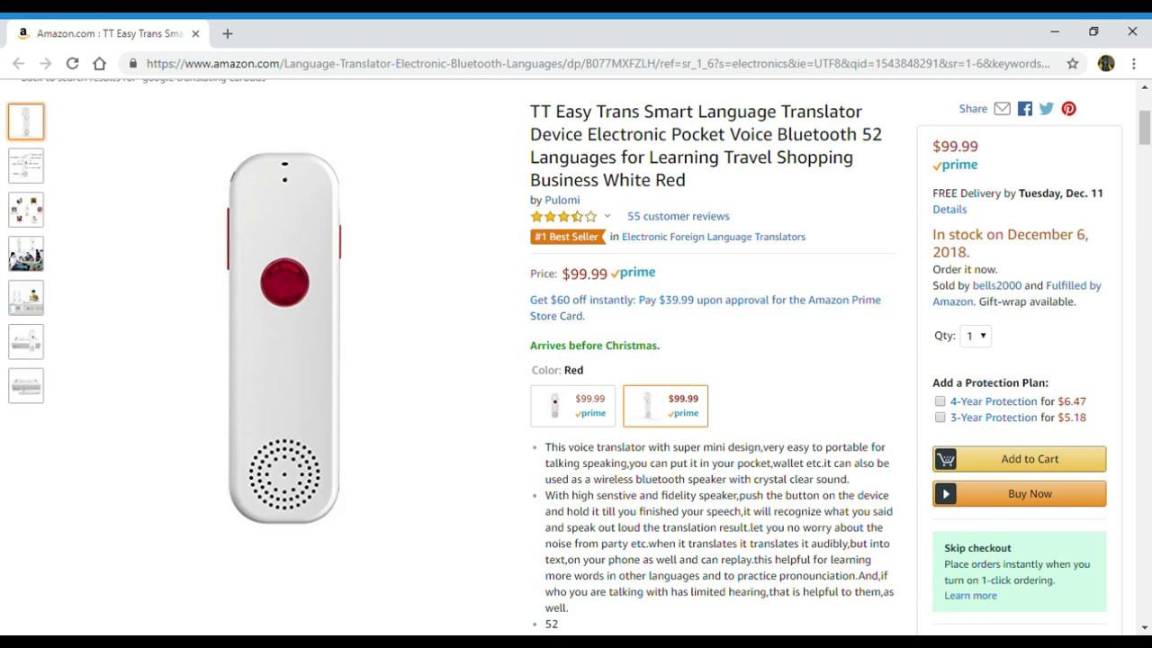 TT Easy Trans Smart Language Translator Device Electronic Pocket