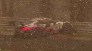 NÜRBURGRING Snowstorm, Porsche Crash (Ring Police), Crash, Red Flag (4K60p) - 13 04 2019 VLN 2