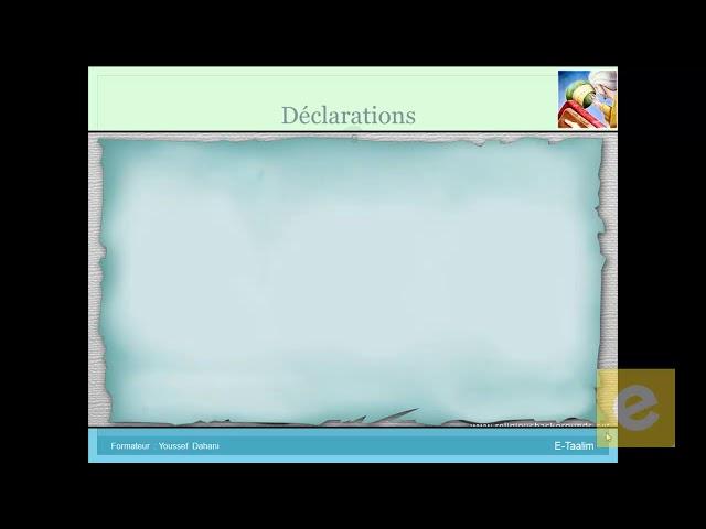 4 Algorithmique :  Déclaration des variables