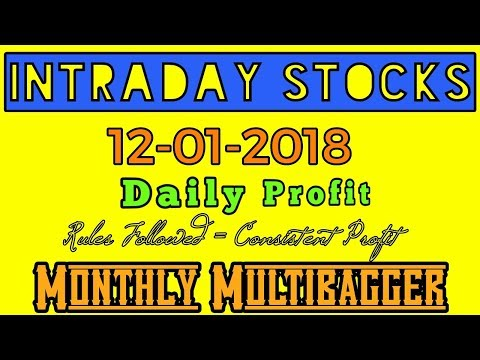 Day trading stocks 12-01-2018  Best stocks with huge potential for intraday