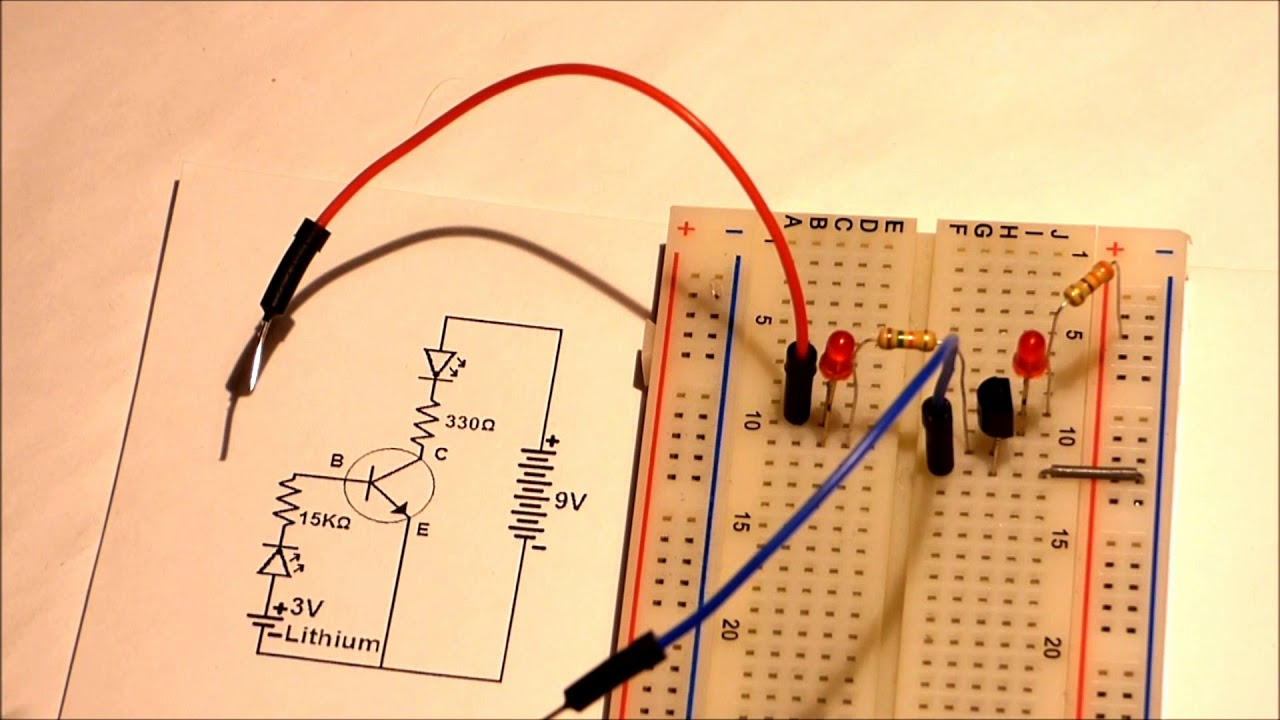 simple 2 battery npn transistor schematic and circuit explained for beginners starting electronics  [ 1280 x 720 Pixel ]