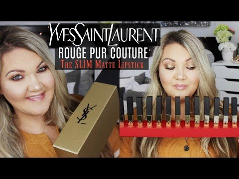 YSL ROUGE PUR COUTURE THE SLIM MATTE LIPSTICKS | 16 SHADES +  LIP SWATCHES