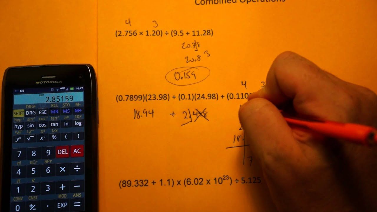 Advanced Significant Figure Calculations (Combined Operations ...