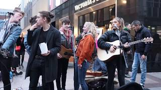 DCT Buskers all come together for an impromptu jam on Grafton Street (Ho Hey/Riptide)