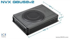"NVX QBUS8v2 8"" Under Seat Car Subwoofer w/ Built-In Amplifier 