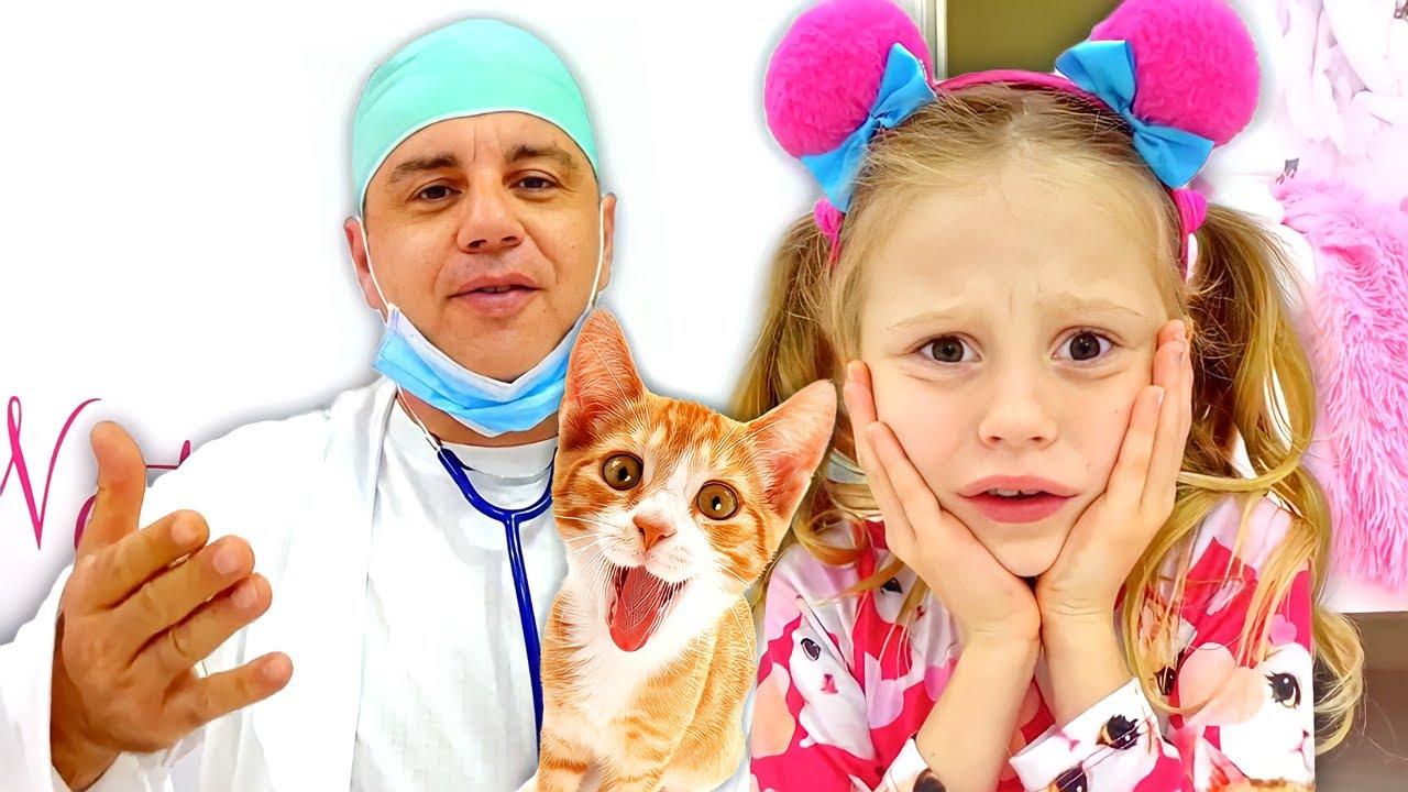 Nastya belajar cara membesarkan anak kucing