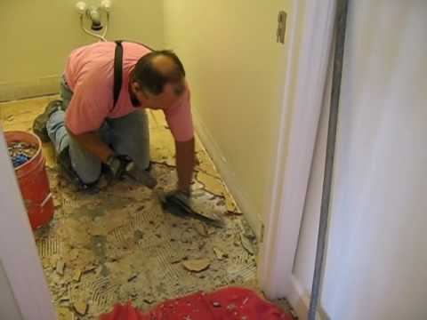 preparing for new tile floors - 06 remove bathroom tile - YouTube