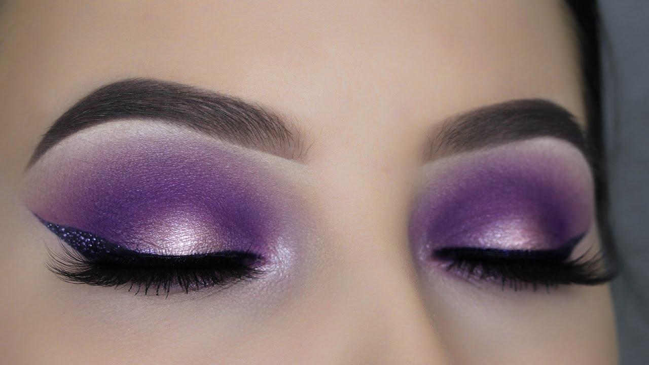 Purple Halo Eye Makeup Glitter Eyeliner Youtube