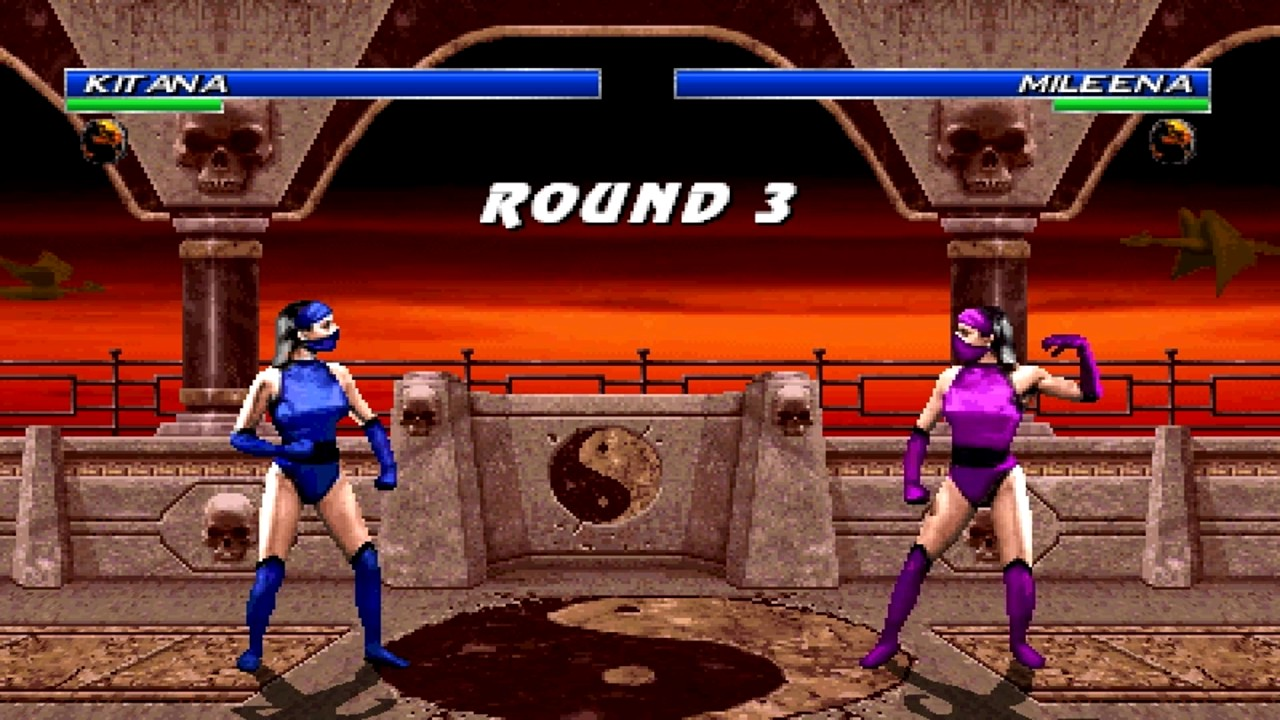 Kitana and Mileena in Mortal Kombat 2, Both are played by Katalin Zamiar