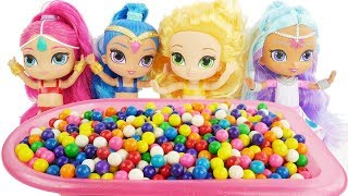 Shimmer and Shine Gumball Bath Slime 5 Little Monkeys Jumping on the Bed Nursery Rhymes Baby Songs