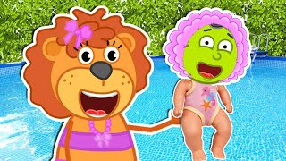 Lion Family found a boy doll and pretends to be a parent | Cartoon for Kids