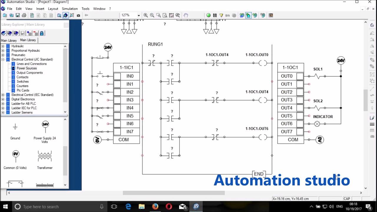 automation studio plc ladder logic program for an electro pneumatic  [ 1280 x 720 Pixel ]