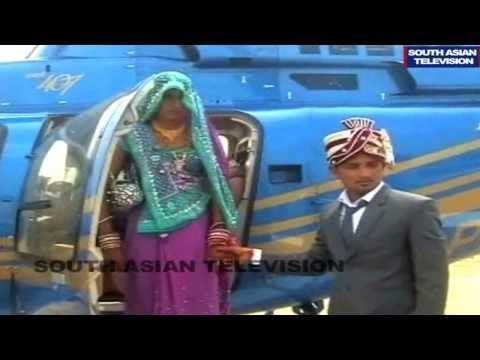 Indian farmer brings bride home in helicopter: Video
