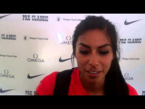 Brenda Martinez talks after finishing second at 2013 Prefontaine Classic 800