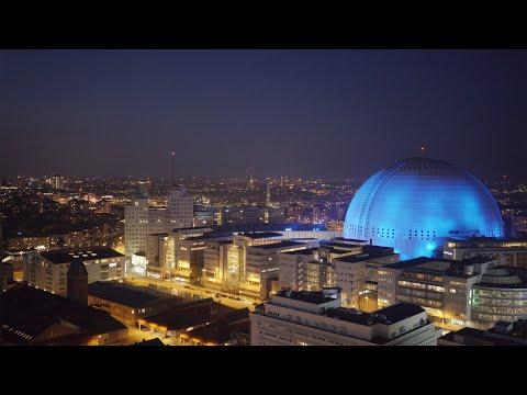 2556. Globen Arena (Stockholm Globe Arena) Drone Stock Footage Video