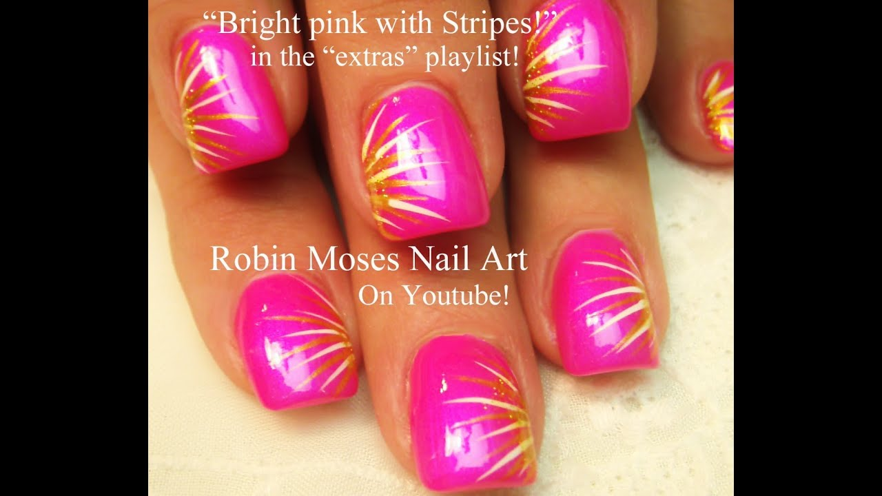 Easy Nail Art For Beginners Diy Neon Pink Stripes Design Youtube
