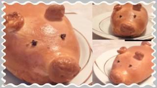 Вкусный большой дрожжевой пирожок  с мясом свинка Пеппа