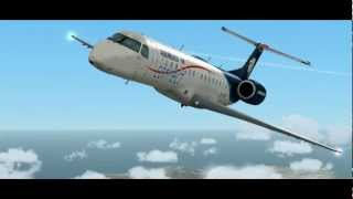 [FSX] ★HD Movie★ Embraer Regional Jet 145 Landing at Nice cote d