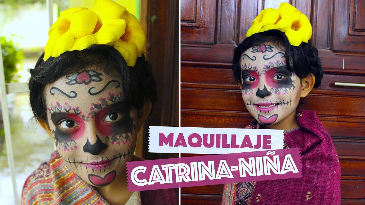 Maquillaje Catrina para Niñas Fácil , Día de muertos , Halloween