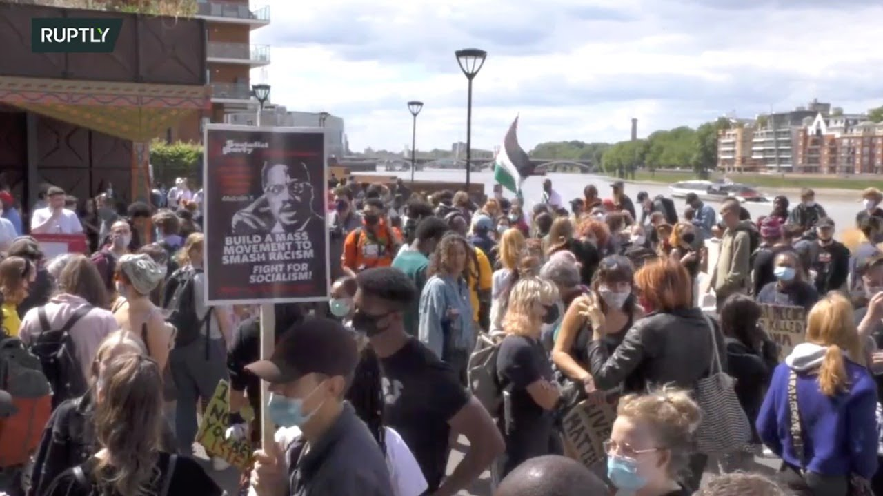 LIVE:  Black Lives Matter protest in front of the US embassy in London