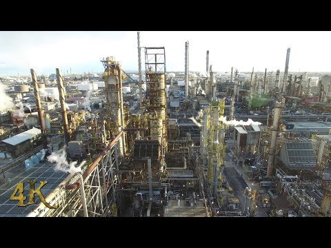 Canada: Aerial drone tour of the Montreal Suncor oil refinery