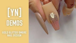 Young Nails Nail Demo - Gold Glitter Ombre Nail Design - Gel Polish Nails