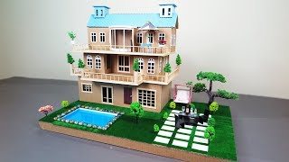 How to Make A Beautiful Mansion House With Fairy Garden and Pool From Cardboard - ( Dream House )