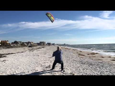 Dad Power Kiting (First time with a Prism Tensor 5.0m parafoil kite. 16MPH wind. )