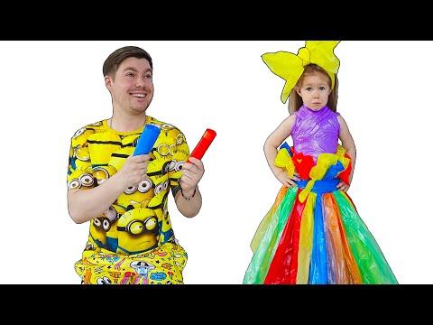 Ева забавно одевается на вечеринку и сами с папой делают платья