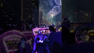 New year 2019 celebrations fireworks in Bangkok city Thailand on Chaophraya river cruise