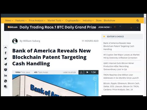 Daily Bitcoin News. Bank of America Reveals New Blockchain Patent Targeting Cash Handling.