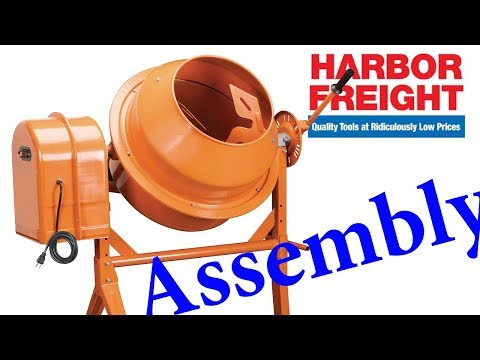Harbor Freight Cement Mixer 3 5 Cubic Ft Assembly - YouTube