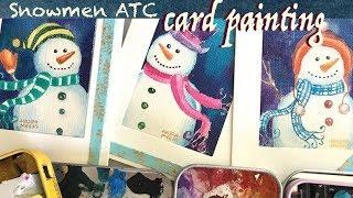 Gouache (Cretacolor Aqua Briques & Stics) Snowmen ATC Paintings