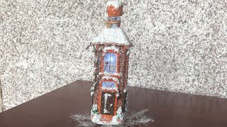 DIY: How to make Lighting house for Christmas on a whiskey bottle PART 2 TUTORIAL