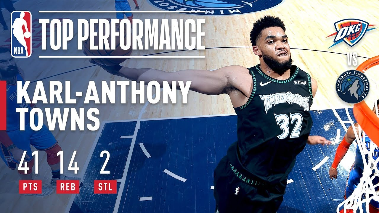 Karl-Anthony Towns Drops 41 POINTS On Oklahoma City | March 5, 2019