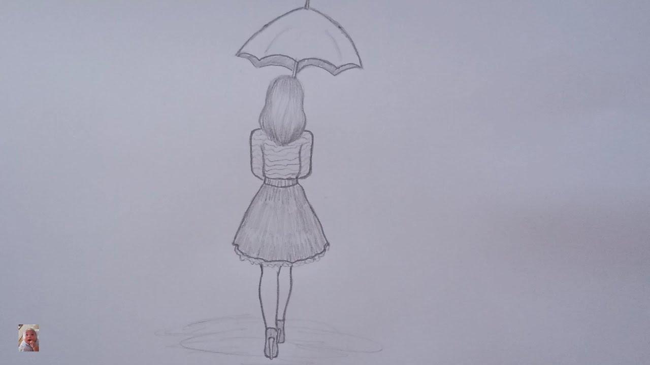 Vẽ cô gái che ô bằng bút chì - Drawing a girl covering an umbrella with a  pencil is also beautiful. - YouTube