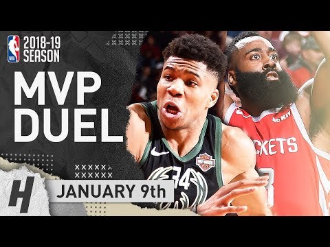 Giannis Antetokounmpo STOPPED James Harden! MVP Candidates Duel 2019.01.09 | NBA Highlights