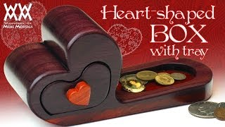 Heart-shaped Wooden Box With Tray. Classy Gift Idea.