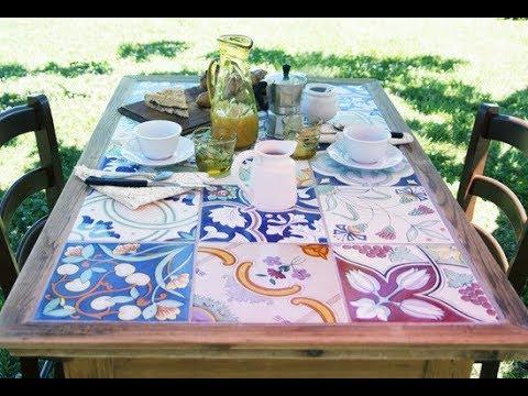 Fai date: piano del tavolo con piastrelle in ceramica youtube