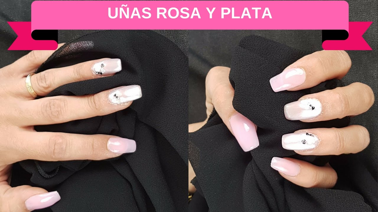 Uñas Acrílicas Rosa Natural Y Plata Sandranewlook Youtube