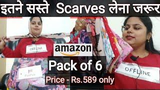 Fus-Fus Multicolour Scarves Pack Of 6 Under 590 - Itna Sasta kahin nhi milega Amazon Stoles