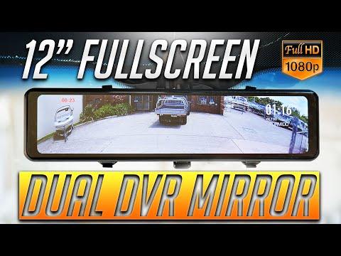 "12"" Full Screen LCD Rearview Mirror & Dashcam DVR: Pormido PR996"
