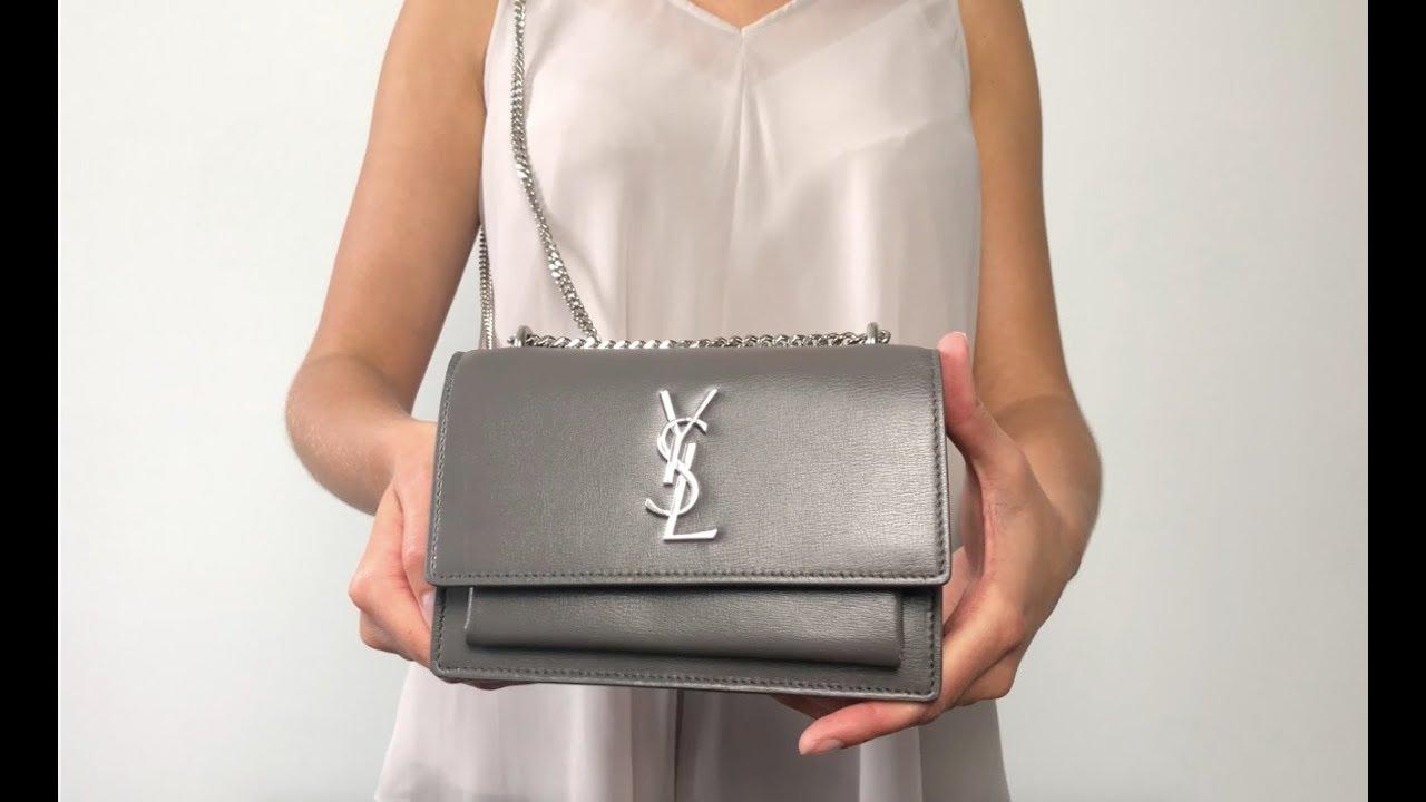 f15ba93d424 Saint Laurent Sunset Chain Wallet Mini Bag in Grey - Authentic YSL Bag