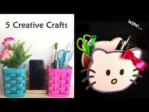 5 AMAZING DESK ORAGNIZER || DIY 5 Creative Home Decoration Idea || Pen Stand || Pencil Holder
