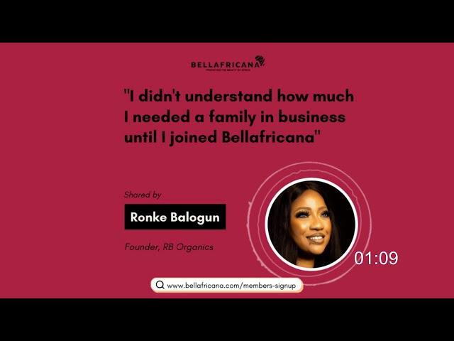 Bellafricana Testimonial: Ronke Balogun